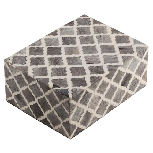 Moroccan Tile Box, Gray