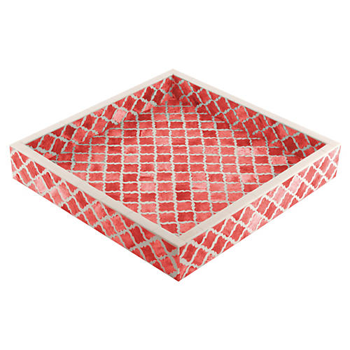 Moroccan Tile Tray, Coral