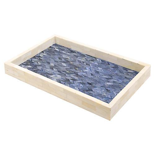 """17"""" Krista Decorative Tray, White/Blue"""
