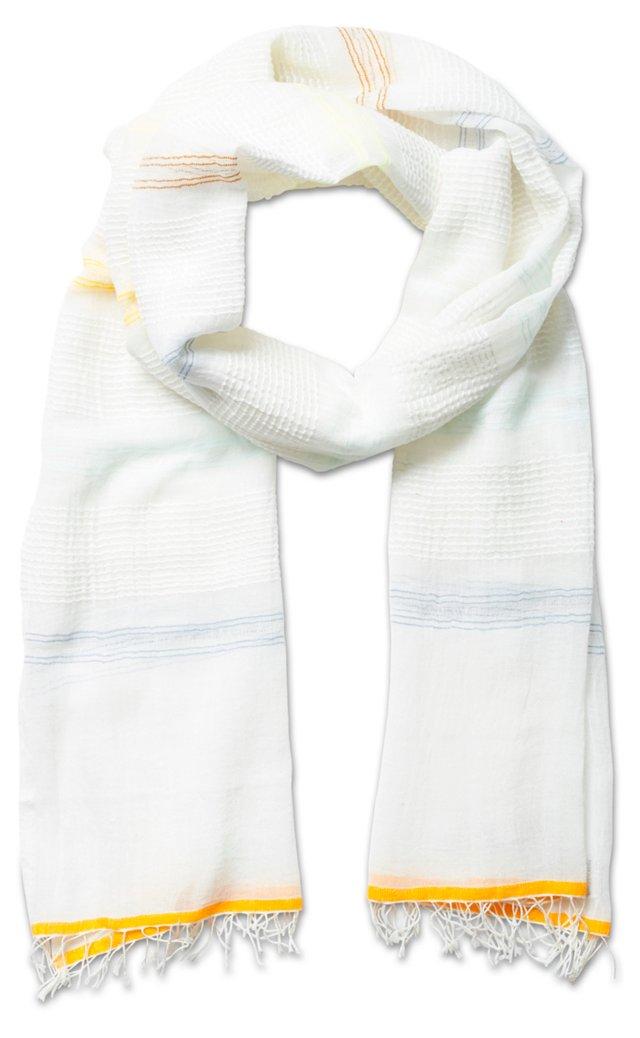 Open Weave Scarf, Lemon/White