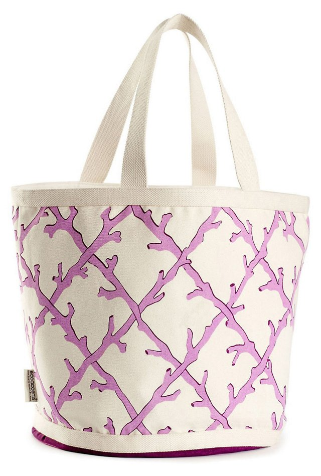 Large Coral Lattice Bag, Lavender