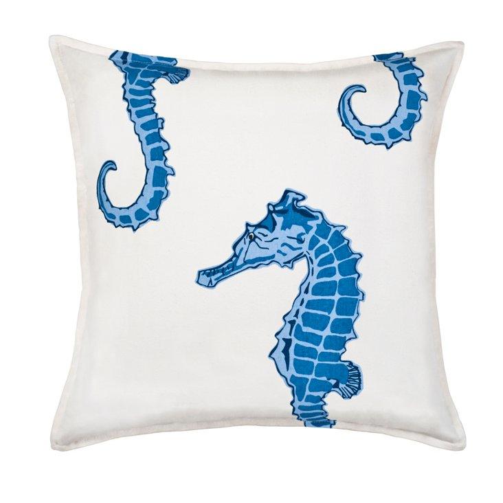 Seahorse 20x20 Cotton Pillow, Blue