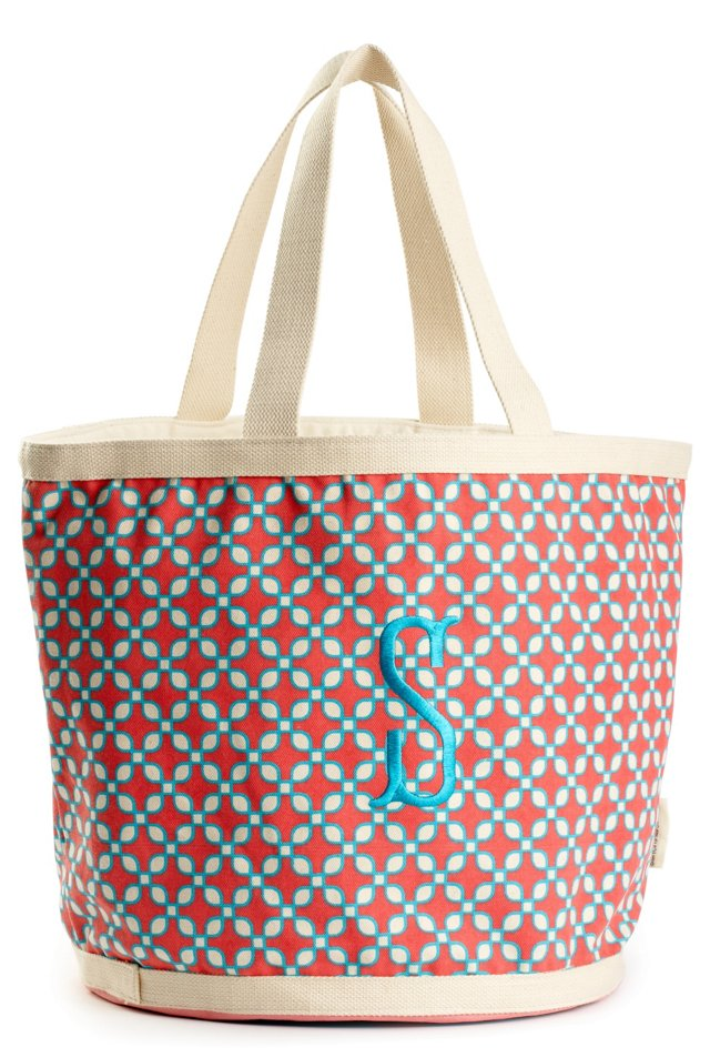 Embroidered Initial Geo Bag, Pink