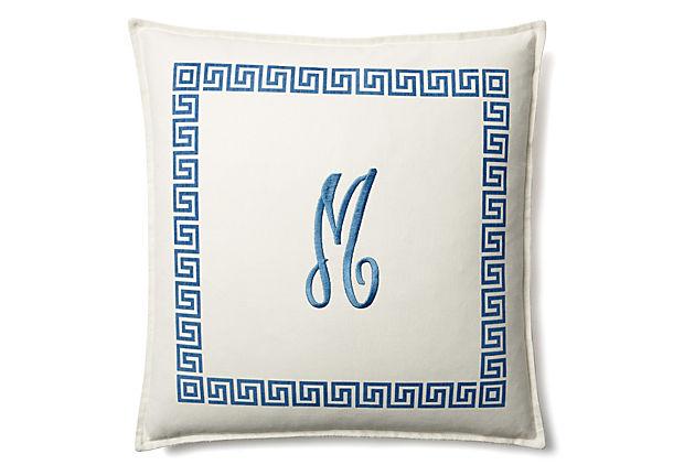 Monogrammed Initial 20x20 Pillow, Blue