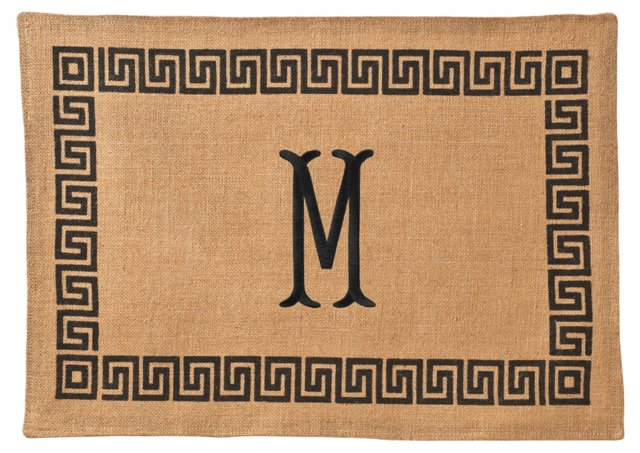 S/4 Greek Key Print Place Mats, Black