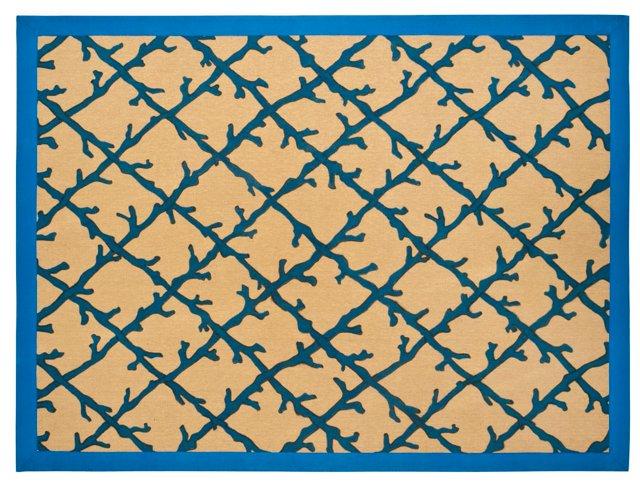 Coral Lattice Jute Rug, Blue