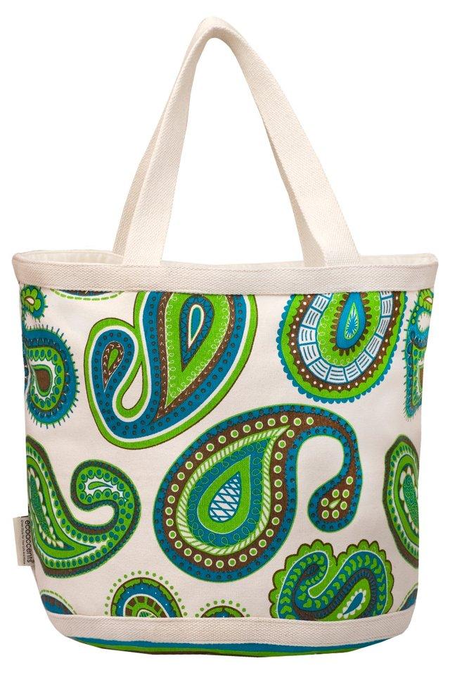 Large Paisley Bag, Green/Blue