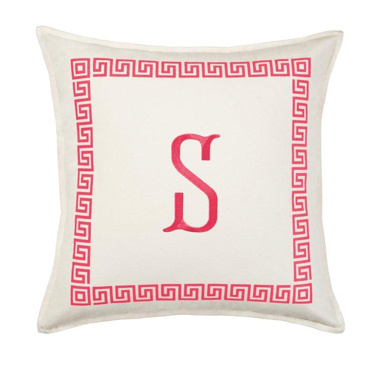 Greek Key 18x18 Monogram Pillow, Pink