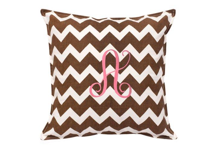 Chevron 18x18 Monogram Pillow, Brown