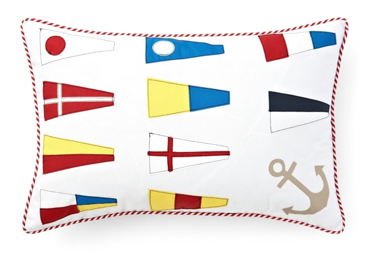 Flags 14x21 Outdoor Pillow, White