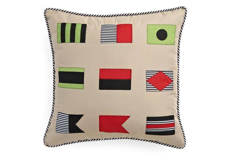 Flags 20x20 Outdoor Pillow, Beige