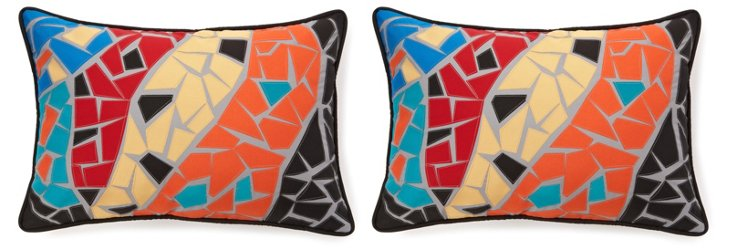 S/2 Mosaic 14x21 Outdoor Pillows, Multi