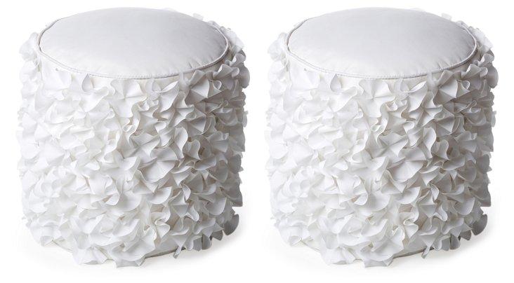 S/2 Petal Outdoor Poufs, White
