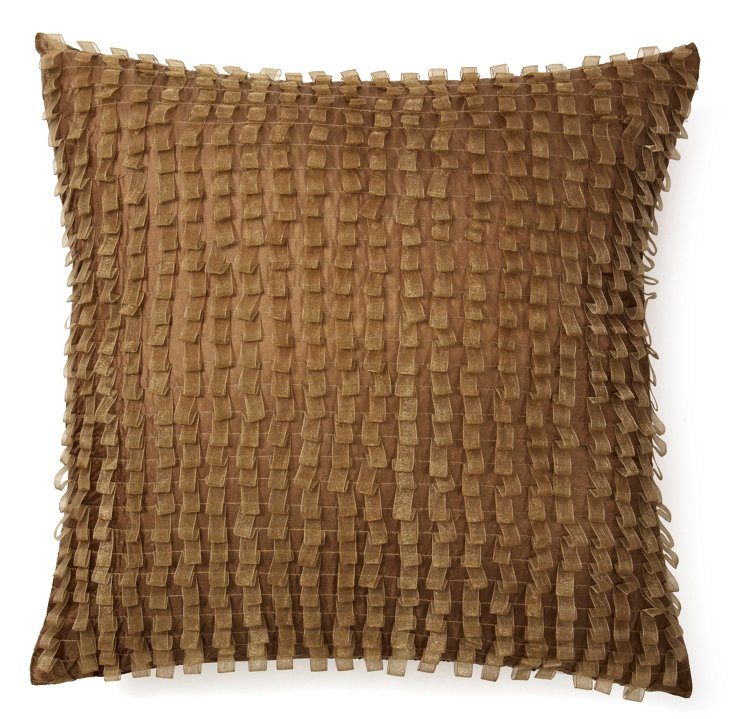 Ribbon 18x18 Pillow, Beige