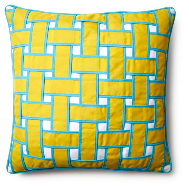 Woven 20x20 Outdoor Pillow, Yellow