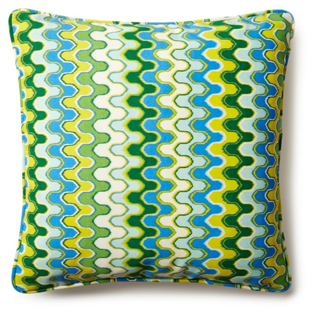 Lynn 20x20 Outdoor Pillow, Green/Blue