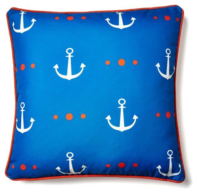 Allover Anchor 18x18 Pillow, Blue