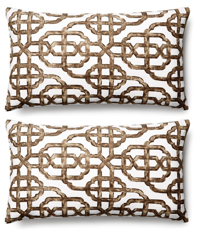 S/2 Imperial 11x20 Cotton Pillows, Brown