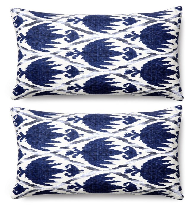 S/2 Casa 11x20 Cotton Pillows, Navy