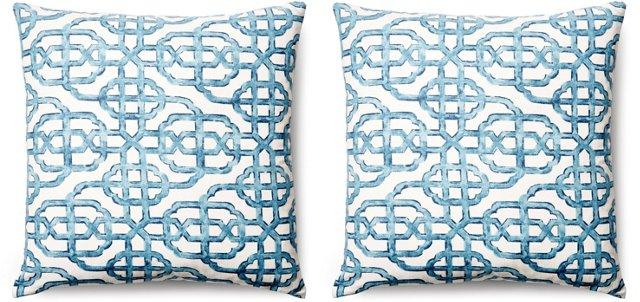 S/2 Imperial 20x20 Cotton Pillows, Blue