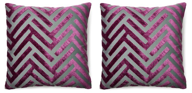 S/2 Mod Chevron 20x20 Pillows, Amethyst