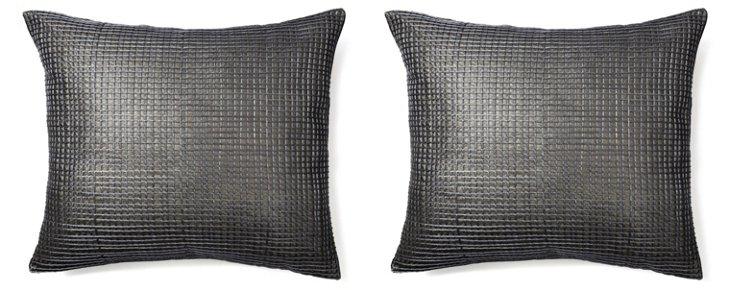 S/2 Metallic 26x26 Pillows, Silver