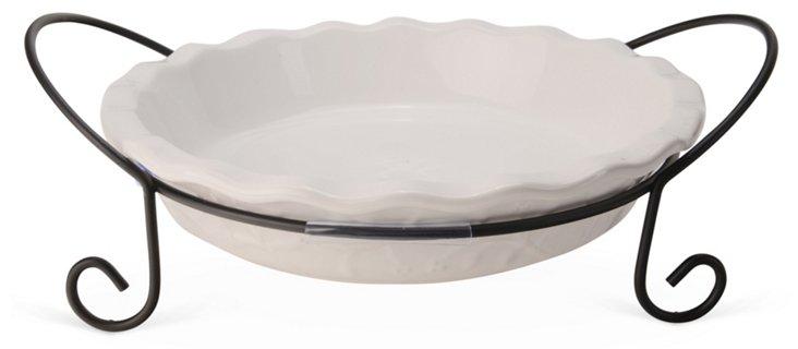 Pie Plate w/ Caddy, White