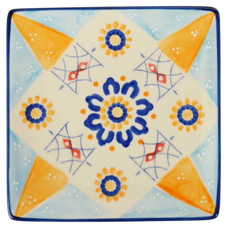 S/4 Patterned Plates, Blue