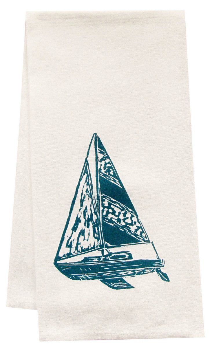 Organic Sailboat Tea Towel, Blue