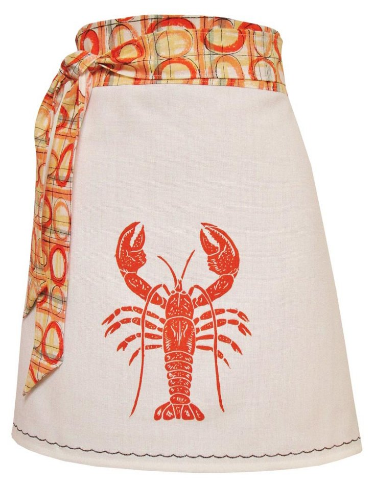 Organic Block-Print Apron, Lobster