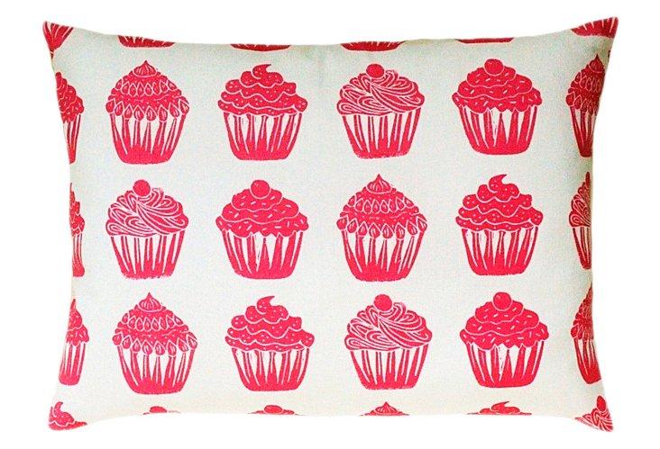 Block Print Sham Accent Pillow, Cupcake