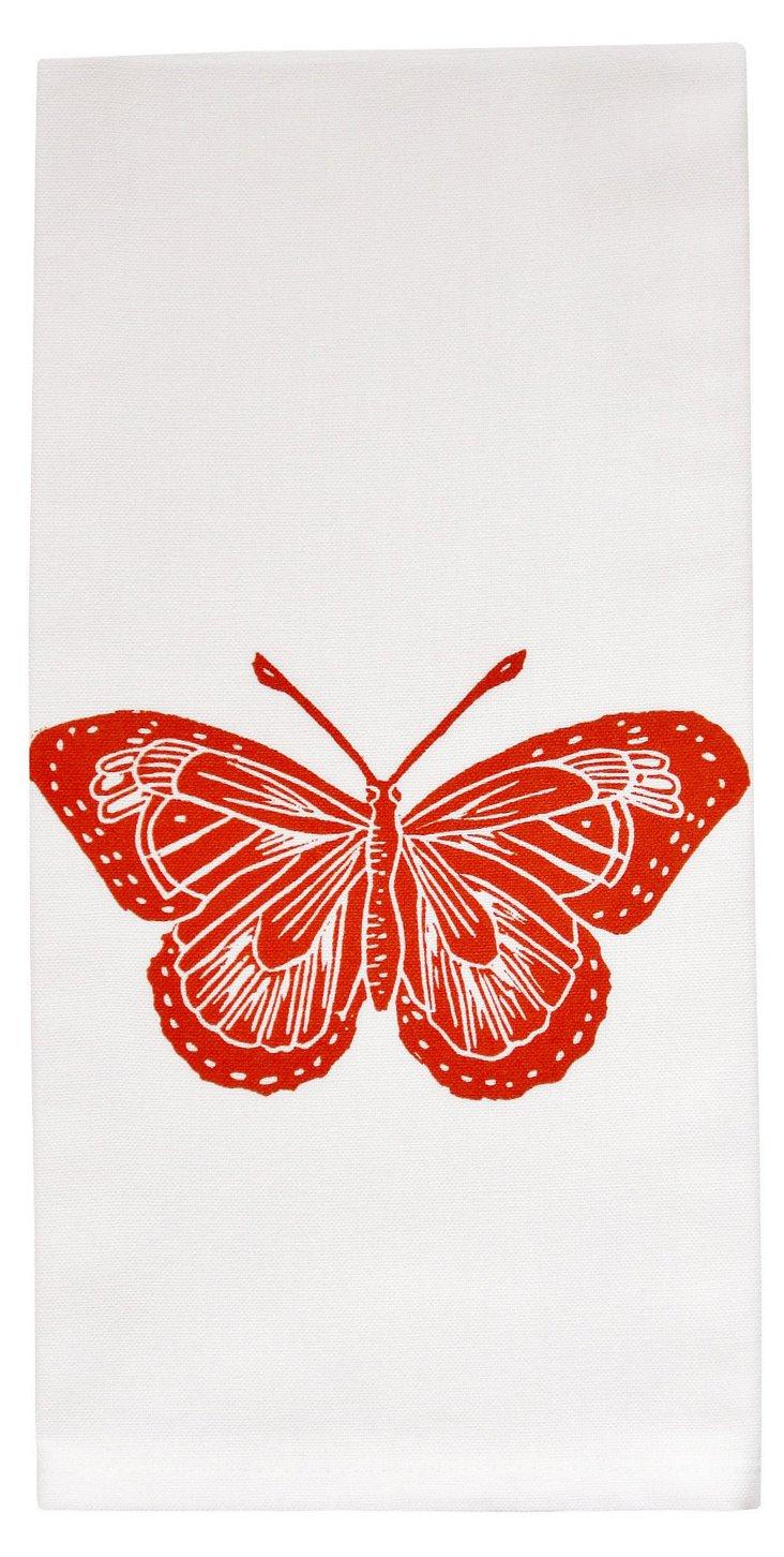 Organic Butterfly Tea Towel, Orange