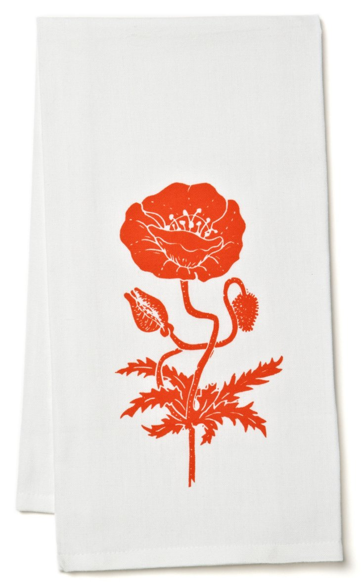Organic Poppy Tea Towel, Bright Orange