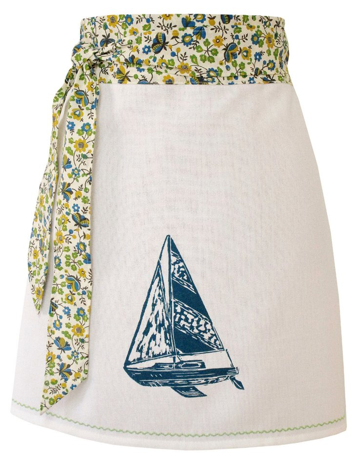 Organic Sailboat Apron, Blue