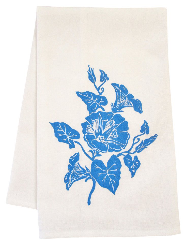 Organic Morning Glory Tea Towel, Blue