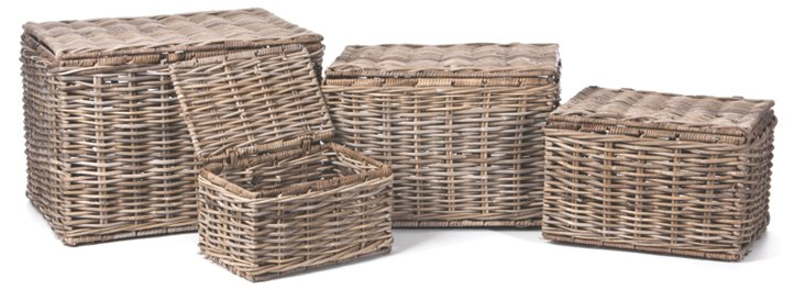 S/4 Rattan Shelter Baskets