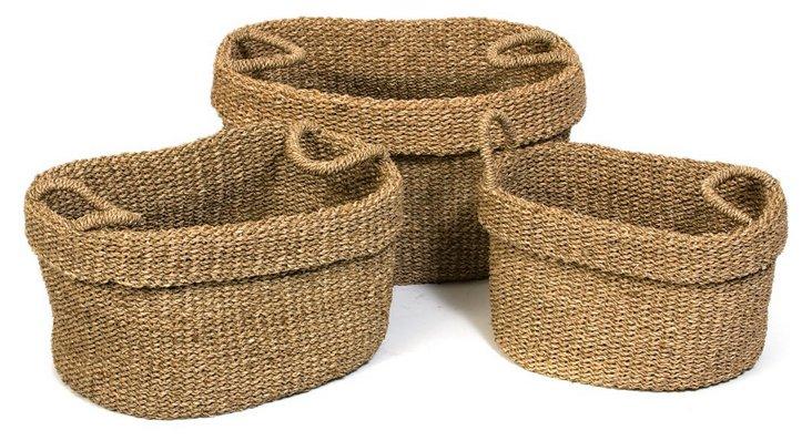 S/3 Assorted Sea-Grass Nesting Baskets