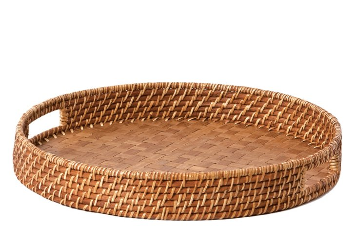 Round Rattan & Bamboo Tray