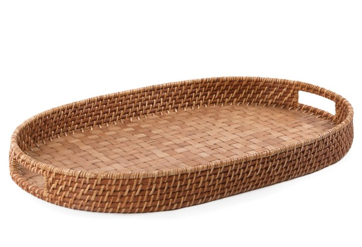 Oval Rattan & Bamboo Tray
