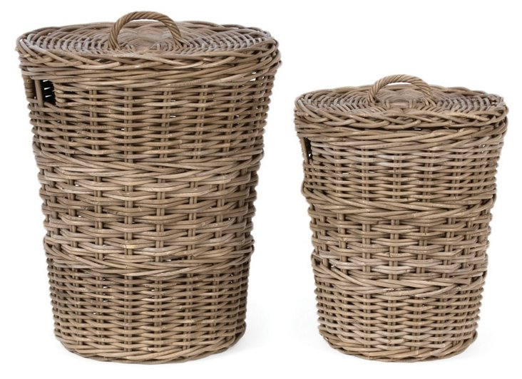 S/2 Rattan Storage Baskets w/ Lids
