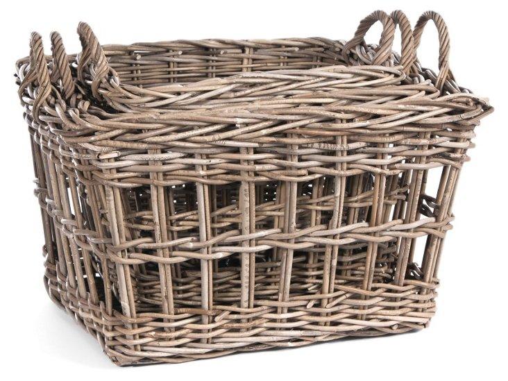 S/3 Striped Rattan Baskets