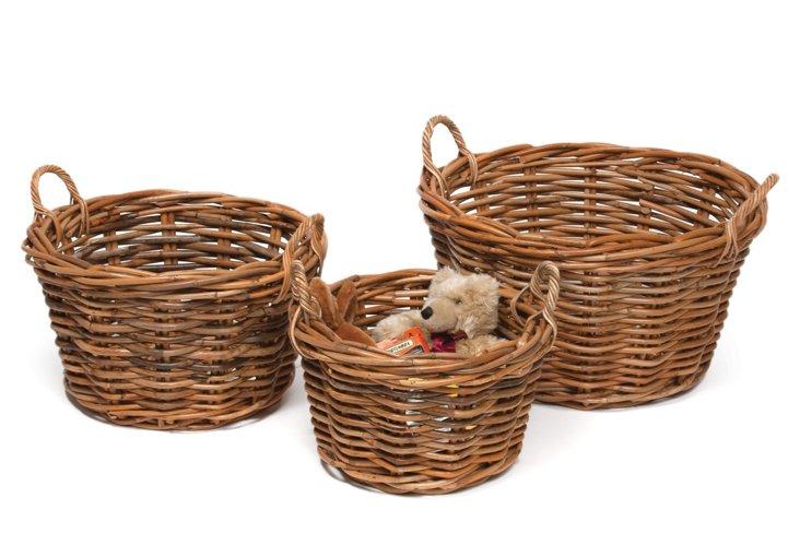 S/3 Round Rattan Baskets