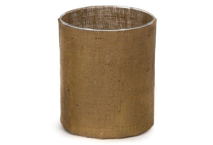 "9"" Fabric & Glass Candleholder, Brown"