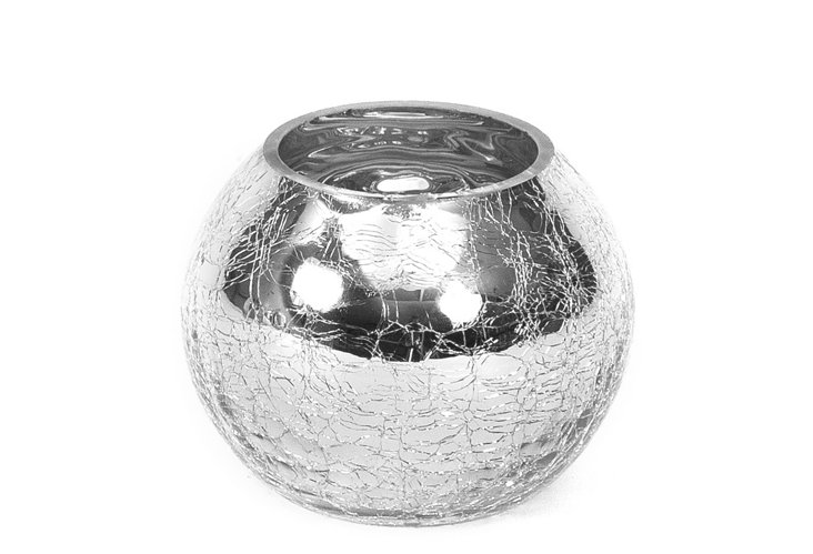 "S/2 4"" Round Crackled Glass Vases"