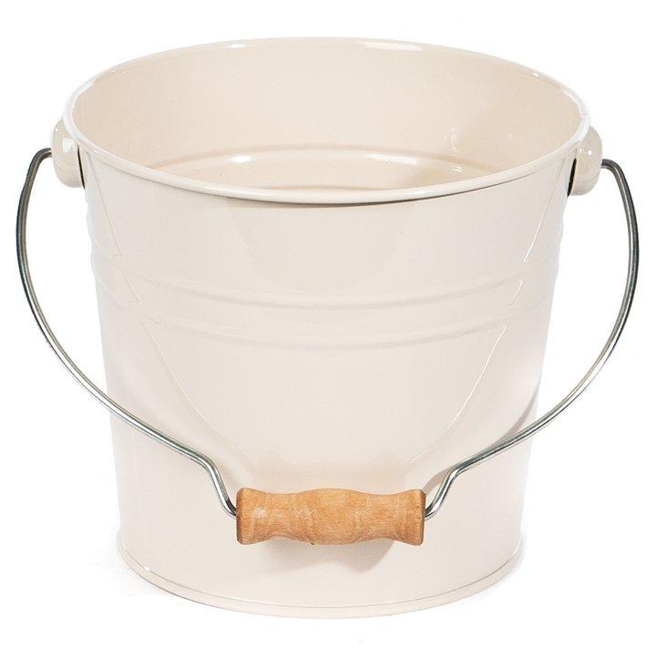 S/2 Large Drop Handle Buckets, Cream