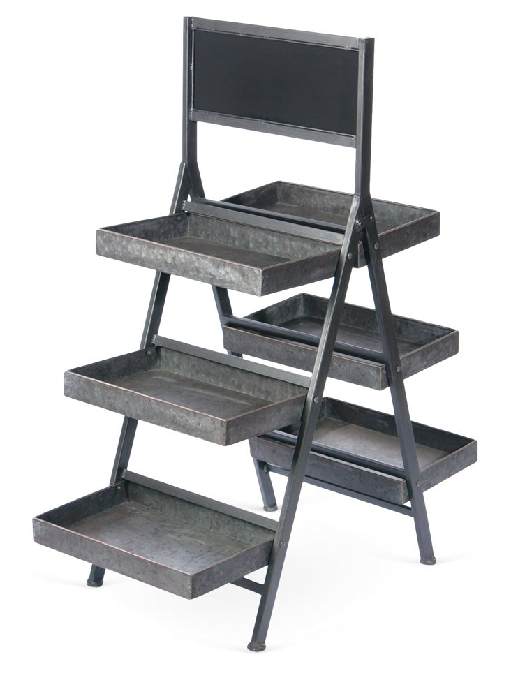 Metal Folding Display w/ Chalkboard, Sm
