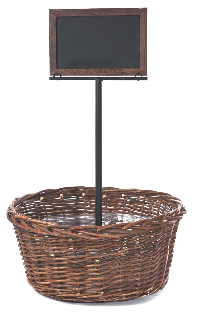 Willow Basket w/ Standing Sign