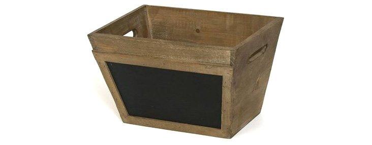 """Wood Chalkboard Bin, 11.75"""""""