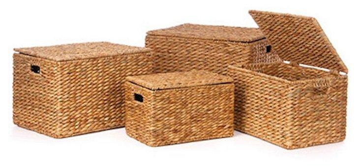 Asst. of 4 Lidded Storage Baskets