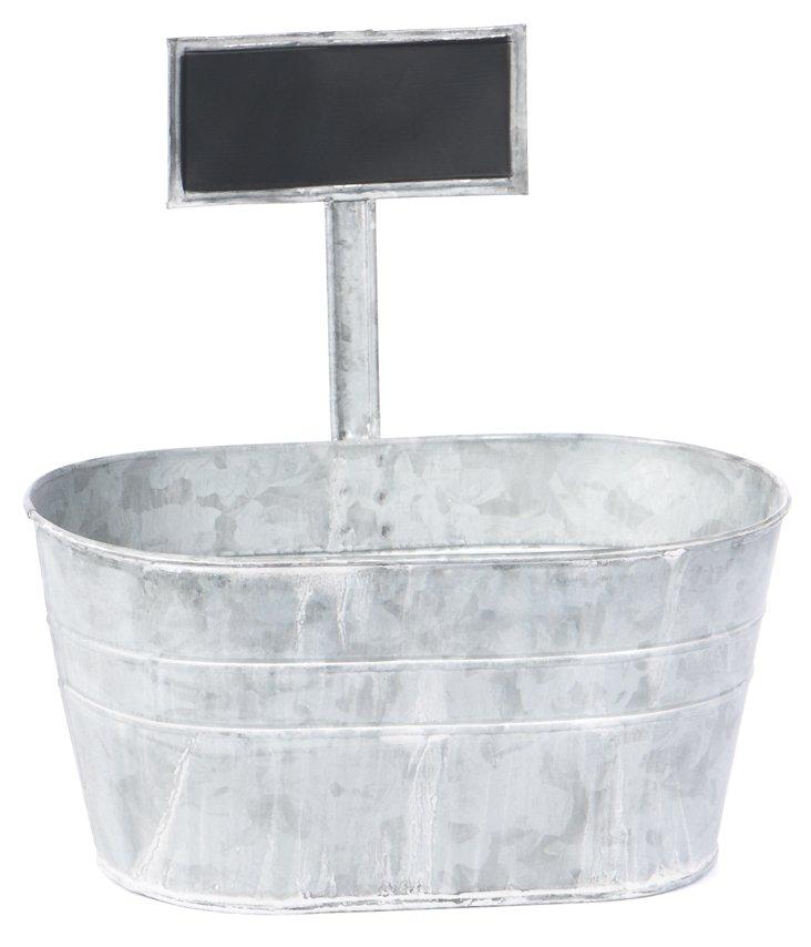 Tin Planter w/ Chalkboard Labeler